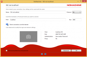 NX connection to localhost on port 4040