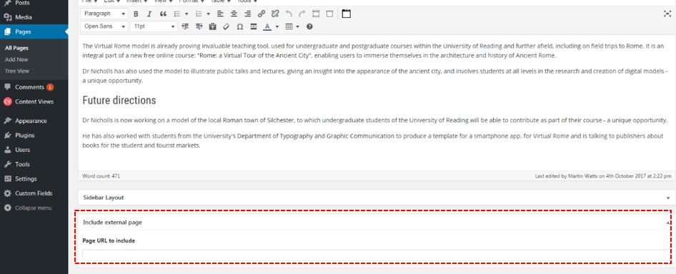 custom field: include external page