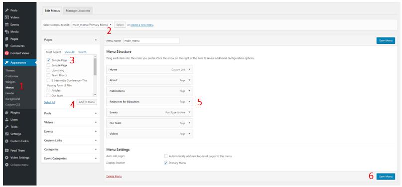 Wordpress menu edition