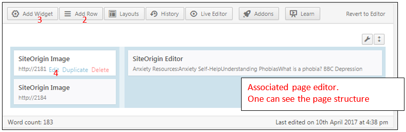 Siteorigin page builder backend