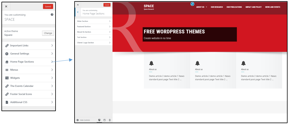 square homepage customiser