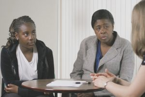 Mother and daughter attending an initial assessment at the AnDY Clinic