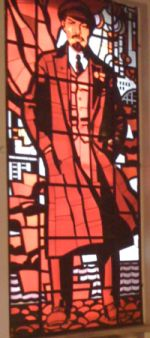 A stained-glass window depicting Lenin