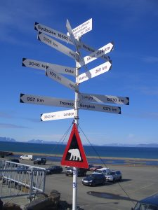 Sign post in Longyearbyen