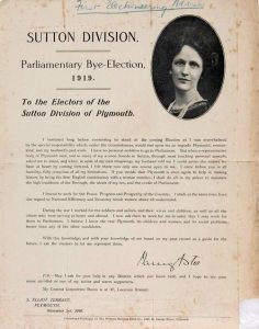 Election leaflet for bye-election Sutton Division Plymouth with picture of Nancy Astor