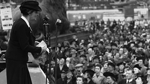 Viscountess Nancy Astor giving a campaign speech in London, 1941