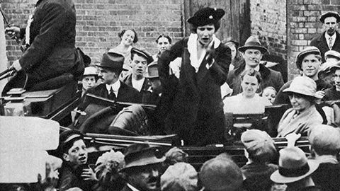 Nancy Astor speaks to a Plymouth crowd while campaigning for election in 1919.