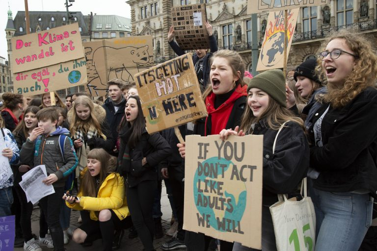 Children challenging world leaders for inaction on climate change