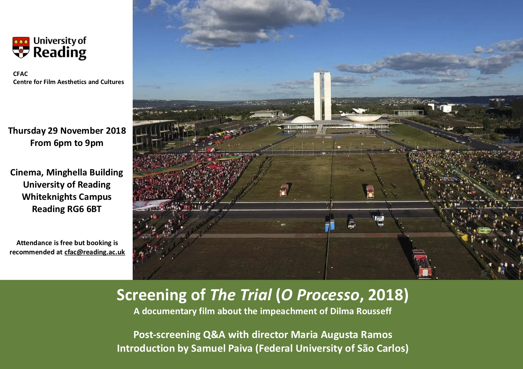 Screening of The Trial (O Processo, 2018), and Q&A with Maria Augusta Ramos