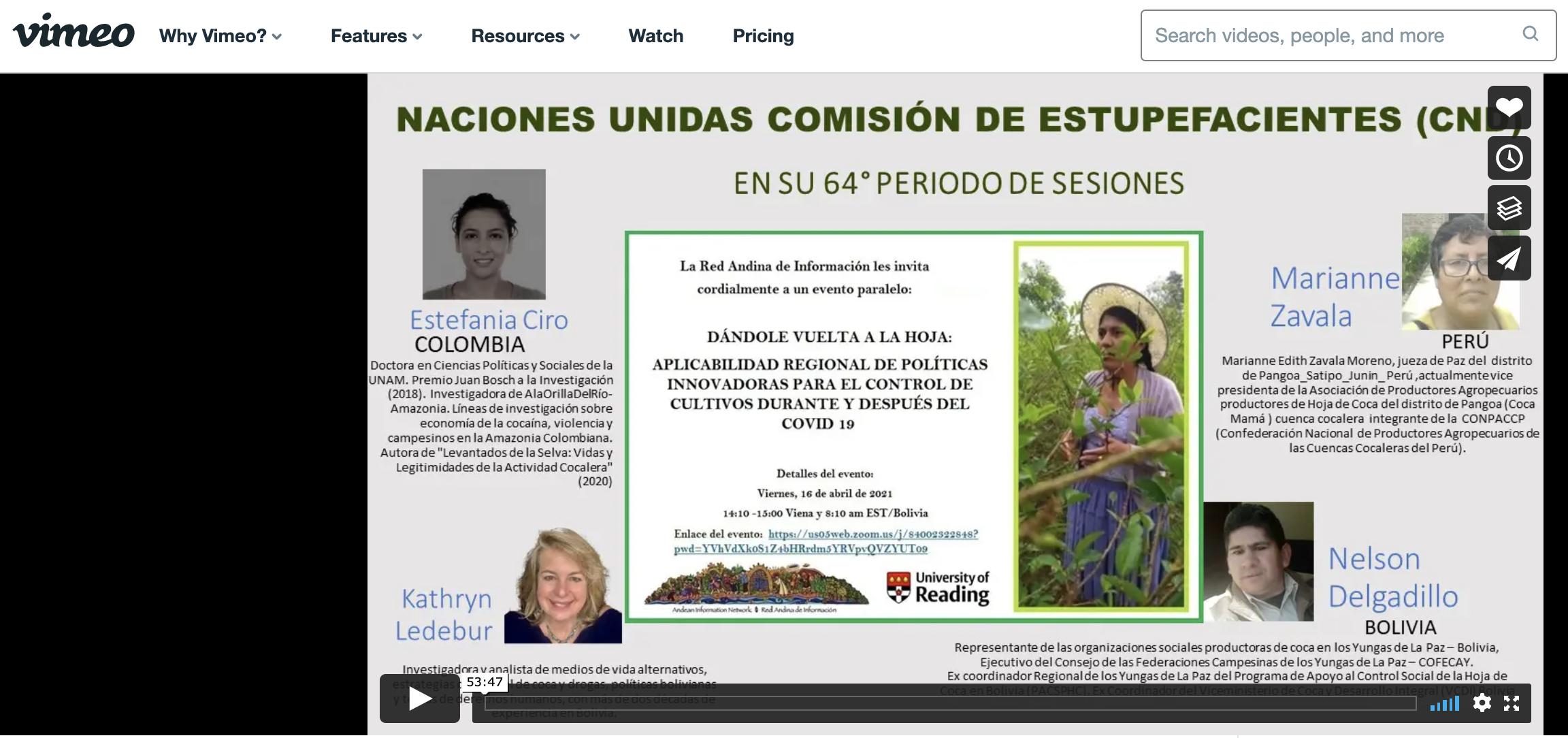 Vimeo: Grabación de nuestro evento en Naciones Unidas Comisión De Estupefacientes