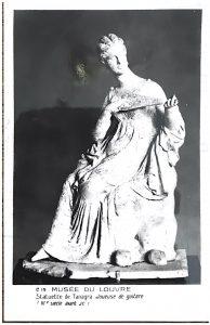 Louvre postcard with Tanagra figurine