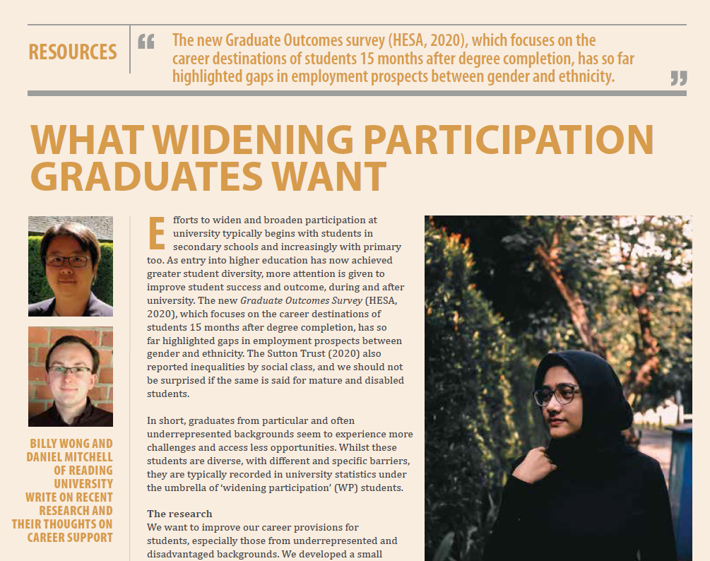 NEWS – Dr. Billy Wong (Associate Professor in Widening Participation, University of Reading) shares 'what widening participation graduates want' in Career Matters