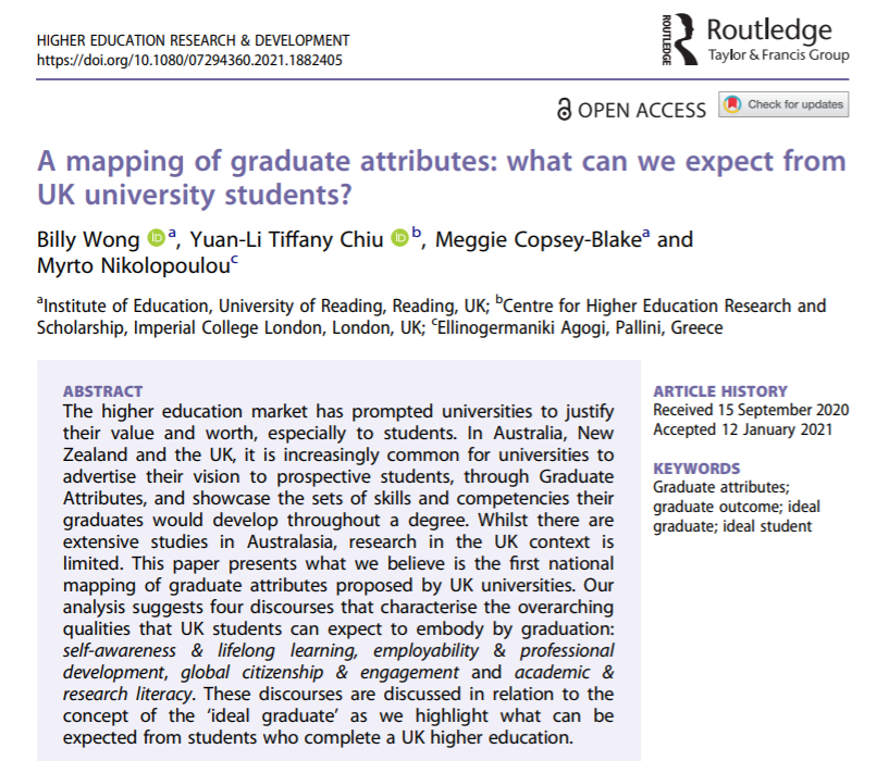 NEWS – Latest research article by Dr. Billy Wong (Associate Professor in Widening Participation, University of Reading) on graduate attributes in higher education
