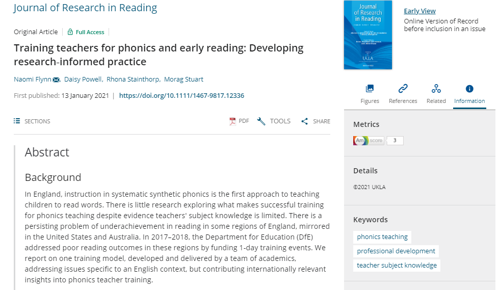 NEWS – Latest research article by Dr. Naomi Flynn, Dr. Daisy Powell and Prof. Rhona Stainthorp (University of Reading) reporting evaluation of their Phonics Roadshow