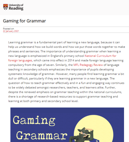NEWS – A new blog post by Dr. Rowena Kasprowicz (Lecturer in Second Language Education, University of Reading) on her Gaming Grammar research project published on the University's Connecting Research blog