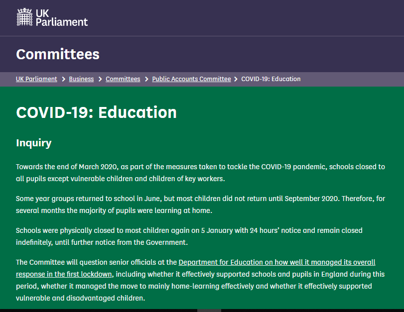 NEWS – Dr. Anna Tsakalaki (Lecturer in Education, University of Reading) and Catherine Hewitt (a third-year BA in Primary Education student, University of Reading) responded to a call for evidence of the UK Parliament's Education Select Committee
