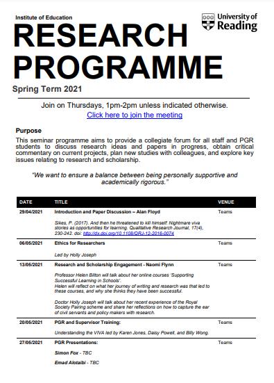 NEWS – Summer 2021 IoE Research Programme announced