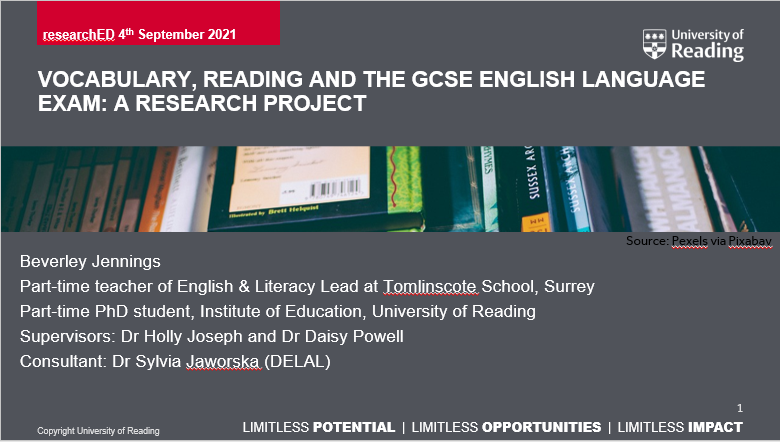 NEWS – Beverley Jennings (a fourth-year part-time PhD student at the University of Reading) gave a presentation based on her PhD at the researchEd national conference