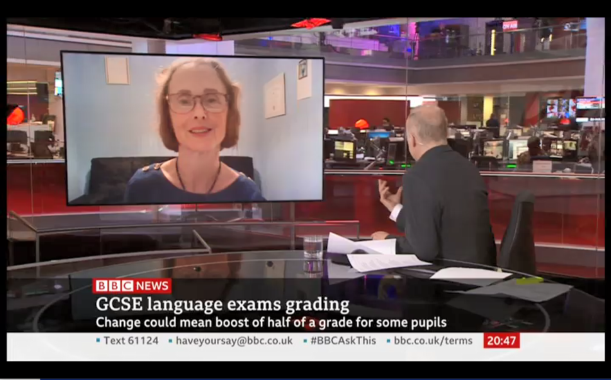 NEWS – Suzanne Graham (Professor of Language and Education) was interviewed on the BBC News channel about the new Ofqual decision which will mean that French and German GCSE exams are graded less severely