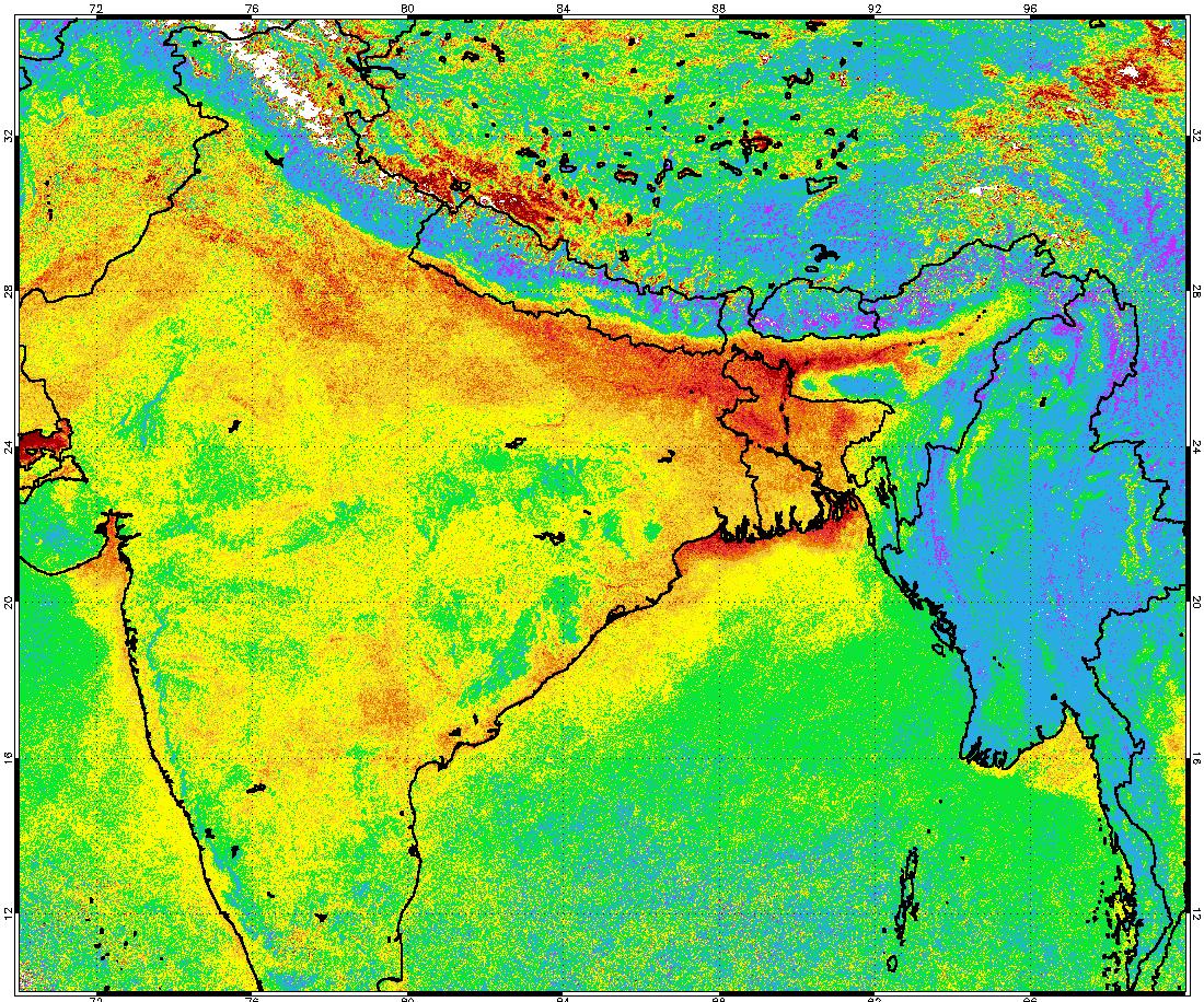 MVIRI aerosol over India