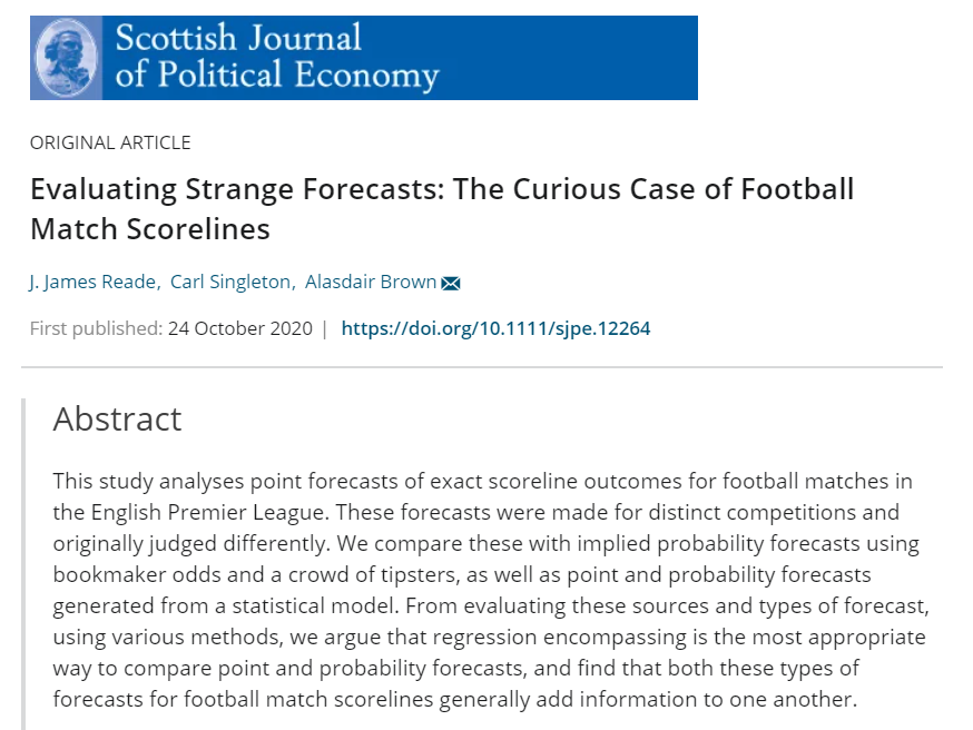"New Journal Article: ""Evaluating Strange Forecasts: The Curious Case of Football Match Scorelines"""