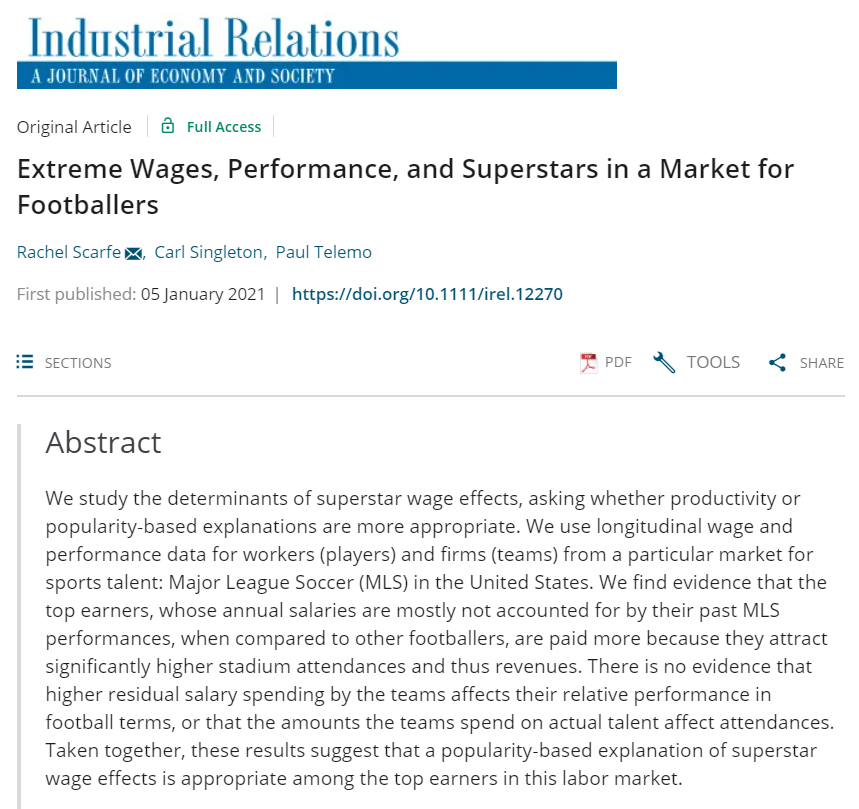 "New Journal Article: ""Extreme Wages, Performance, and Superstars in a Market for Footballers"""
