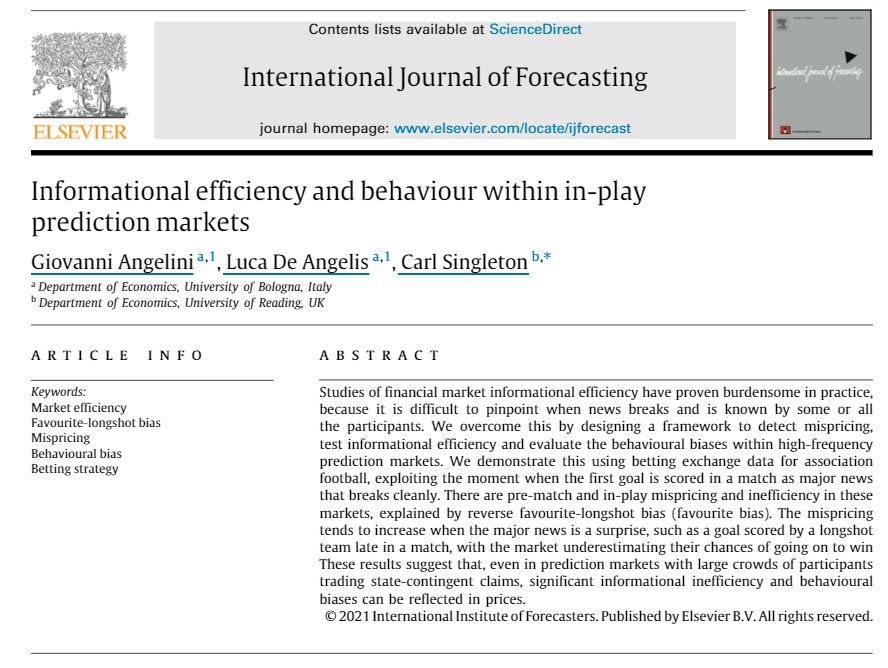 """New Journal Article: """"Informational efficiency and behaviour within in-play prediction markets"""""""
