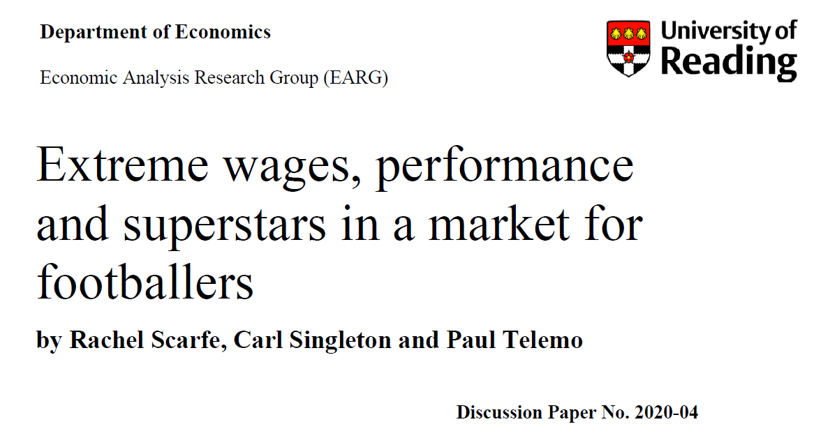 New Working Paper: Extreme wages, performance and superstars in a market for footballers