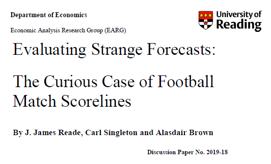 "New Working Paper: ""Evaluating Strange Forecasts: The Curious Case of Football Match Scorelines"""