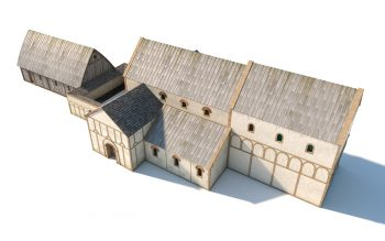 Digital reconstruction of an early phase of the church, around 900 AD