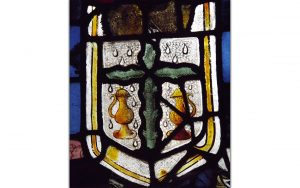 Cruets in stained glass from the church of St John, Glastonbury (© Glastonbury Abbey; photograph: Nic Phillips)
