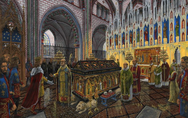 An illustrative reconstruction of the visit of Edward III to King Arthur's tomb in December 1331 (© Dominic Andrews, www.archaeoart.co.uk)