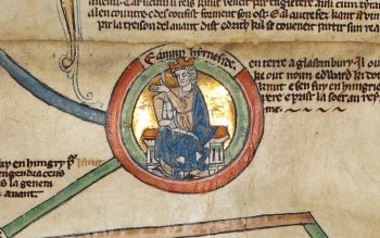 Edmund Ironside in 'Genealogical Chronicle of the English Kings' (© The British Library Board, Royal MS 14 B V)