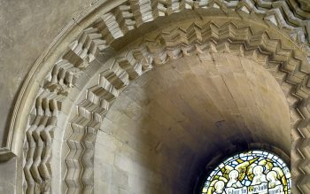 Chevron ornamentation at St Cross, Winchester (© John Crook)