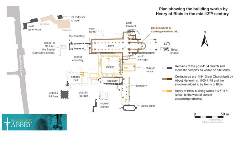 Plan showing the building works by Henry of Blois in the mid-12th century (© Liz Gardner)