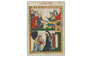 Illumination of a medieval pilgrim (Codex Manesse, UB Heidelberg, Cod. Pal. germ. 848, fol. 371r, Meister Johannes Hadlaub) (Public domain)