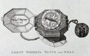 Abbot Whiting's watch and seal from Warner's 'An History of the Abbey of Glastonbury' (1826) (Reproduced with the permission of the Society of Antiquaries of London)