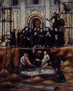 Reconstruction of the exhumation of Arthur in 1191 (© Rahtz and Watts, 2003)