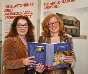 Janet Bell and Roberta Gilchrist at the launch of the monograph and 'Glastonbury Abbey: archaeology, legend and public engagement'.