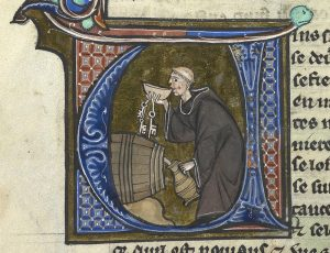 Monk sneaking a drink (British Library manuscript Sloane 2435, f. 44v)