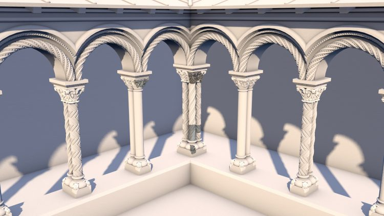 Our visualization of how Henry of Blois' cloisters may have appeared. Surviving fragments are in darker shading.