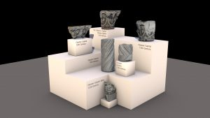 Impressionistic rendering of the six cloister fragments on display in the museum.