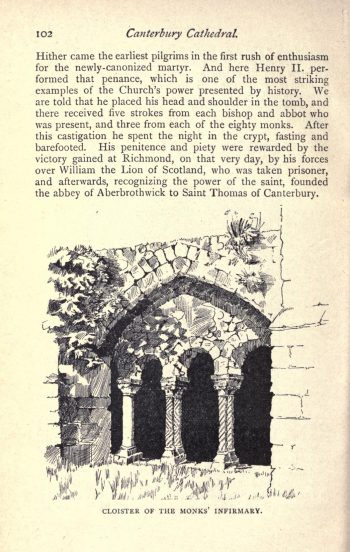 The Romanesque arcade of the former Infirmary at Canterbury Cathedral. Image credit: From Hartley Withers. The Cathedral Church of Canterbury. London: G Bell and Sons Ltd. 1921. p102.