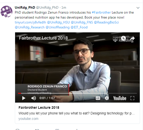 Fairbrother Lecture 2018  Would you let your phone tell you what to eat?