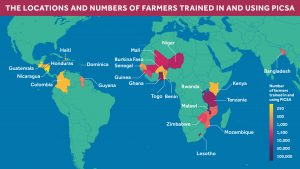 Map showing PICSA has reached thousands of farmers across more than 20 countries worldwide.