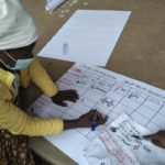 Image showing a woman working on a Participatory Budget during PICSA field day