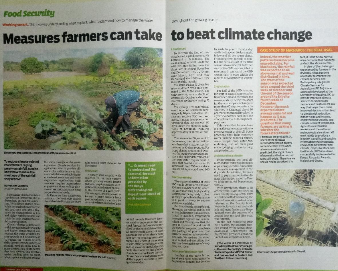 PICSA story in Kenyan Newspaper