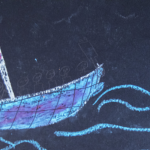 Chalkboard drawing of a boat transporting migrants across the sea
