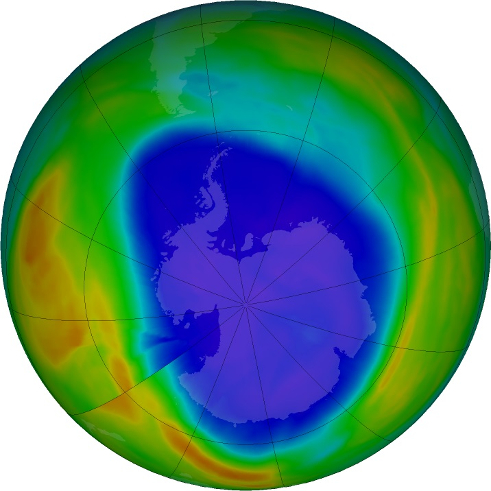 False-colour view of the total ozone over the Antarctic pole.