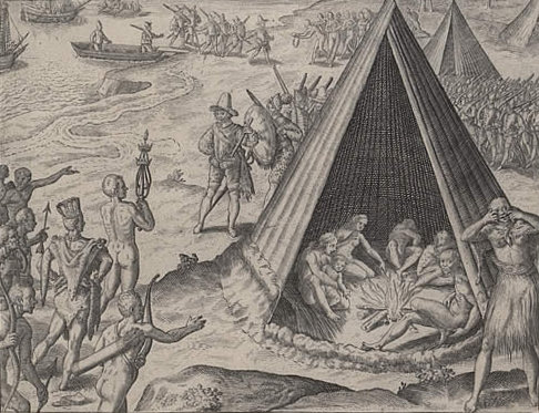 Francis Drake in California, 1579; engraving by Theodore de Bry, 1590. Image from wikimedia commons.